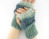 knit fingerless gloves soft arm warmers fingerless mittens blue light grey verdigris women men rustic unisex  tagt curationnation