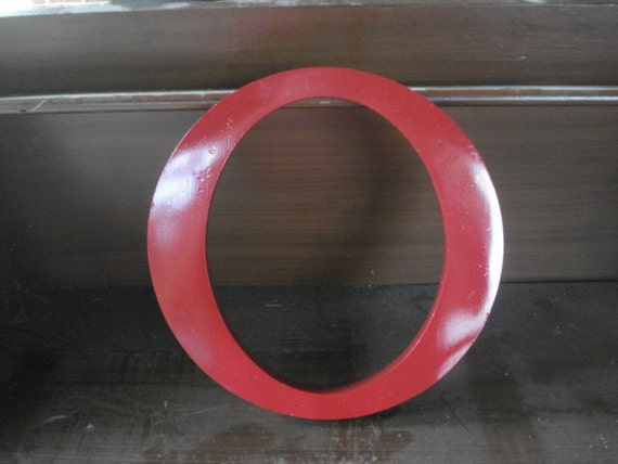 """Vintage Cast Aluminum-Metal 10"""" Sign Letter O Red"""