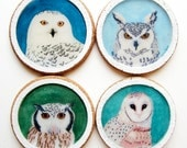 SALE - Wild Hoots - Cork Coasters from Original Artwork - Set of 4 Owls (barn, snowy, great horned, long eared)