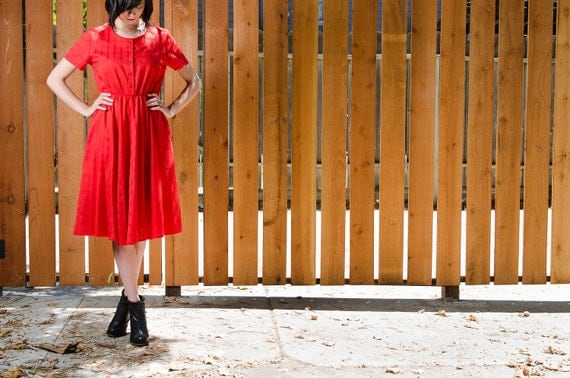 vintage red button down sheer summer short sleeved dress with pockets