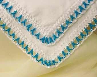 Crochet Handkerchief, Hanky, Hankie, Hand Crochet, Teal, Lace, Ladies, Bridesmaids, Personalized, Embroidered, Monogrammed, Blue