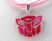 Pink Lace Autobot necklace