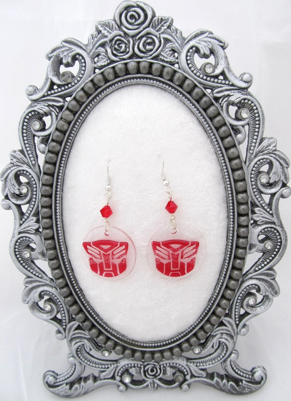 Red Autobot symbol earrings