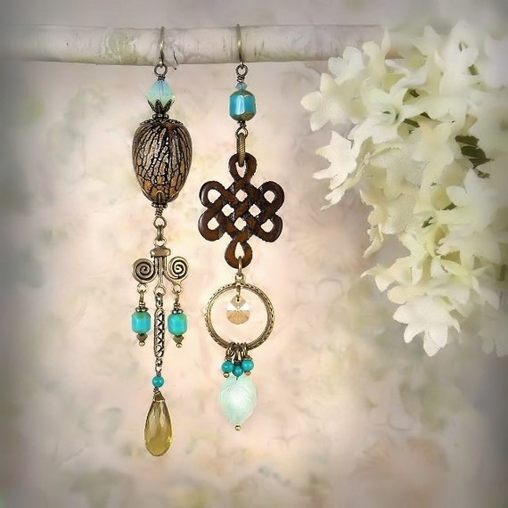 Tribal Echo 8 (Woodsy / Whiskey Quartz Version) - Unique Turquoise Earrings - Rustic Celtic Knot Earrings - Artistic Earrings