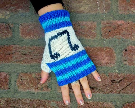 Music Note Fingerless Gloves, DJ Pon-3, Vinyl Scratch, Hand Knit Gloves - Blue, Turquoise, White, Black