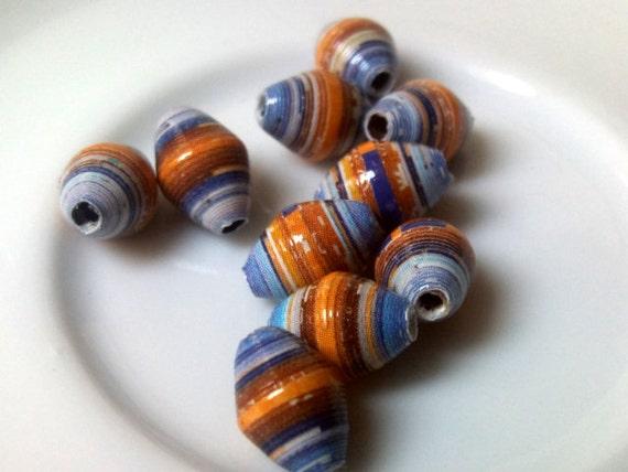 10 paper beads - blue, dark orange -