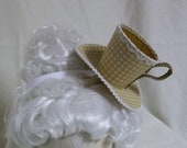 Teacup Fascinator- Tan and White Teacup Headband- Mini Hat