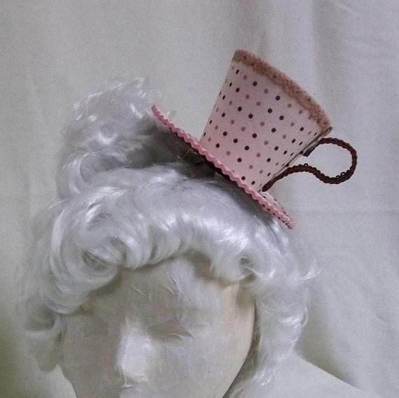 Teacup Fascinator- Pink and Red Teacup Headband- Mini Hat