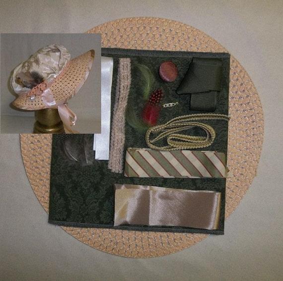 Bonnet Kit- DIY- Green, Pale Apricot and Ivory