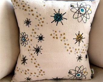 Atomic Starburst Barkcloth Mid Century Pillow Cover - Premium Reproduction Fabric - Lumbar pillow covers
