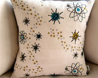 Atomic Starburst Barkcloth Mid Century Pillow Cover - Premium Reproduction Fabric