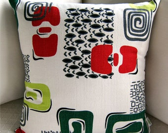 "1950s Barkcloth Retro Pillow Cover - Vintage ""Cortez"" Pattern  White, Lime, Red  - Throw Pillow -- For 18"" x 18"" insert"