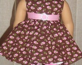 Pink & Brown Rose Print Twirl Dress For American Girl Or Similar 18-Inch Dolls