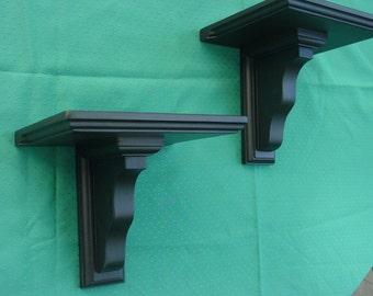 Pair Handmade Wood Accent Shelves/Sconces - In Matt Black