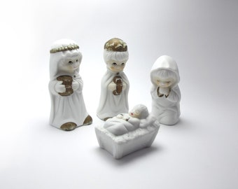 Set Nativity Scene Figurines, White porcelain, Holy Night, Christmas in July, creche