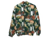 Vintage Babylon Fashion Print Hunter Green Silk Jacket