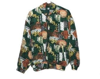 Vintage Babylon Fashion Print Hunter Green Silk Jacket