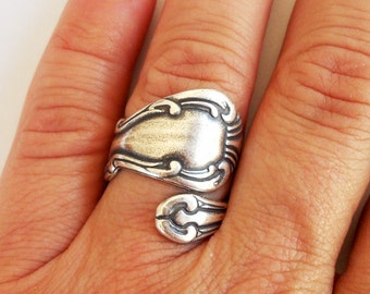 Steampunk Spoon Ring- Bypass Ring- Sterling Silver Ox Finish- Style 2