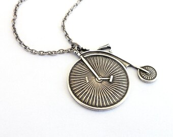 Retro Bicycle Necklace- Bike Necklace- Sterling Silver Ox Finish