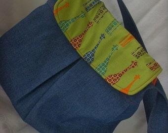 Diaper Bag / Blue Denim Pleated/ with Urban Circus Giraffes Ready to Ship