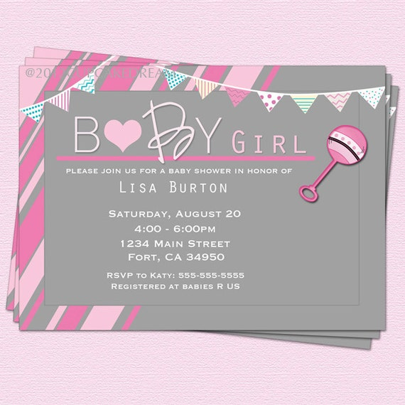 baby shower invitation girl baby shower rattle invitation, Baby shower invitations
