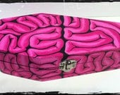 MADE TO ORDER, Hand Painted, For the Love of Brains, Coffin Shaped Box