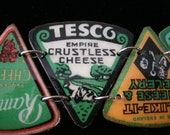 vintage cheese label bracelet