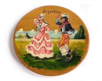 Vintage South American Decor, Argentina Decor, South American Dancers, Round Wood Plaque
