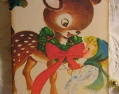 Little Girl and her Reindeer - Vintage Christmas Tags