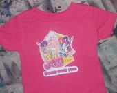 funny retro 80s kids tshirt Jem and the Holograms bright pink rock n roll