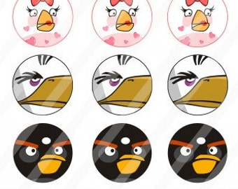 Angry Birds Digital Collage Sheet 1 inch circles 4x6 (C1)