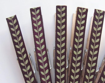 Decorated Clothespins or Fancy Chip Clip Trailing Vines Ribbon Set of 6