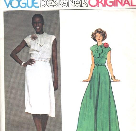 Vogue 1441 Designer Original Belinda Bellville Dress and Gown Vintage Sewing Pattern Uncut Bust 34 Inches