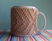 Knitted Mug Cozy - Tan Chevron
