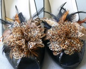 Leopard animal print fabric print with brown and black feathers, shoe clips