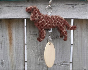 American Water Spaniel dog crate tag or hang anywhere, Magnet option, handmade needlepoint by canine artist