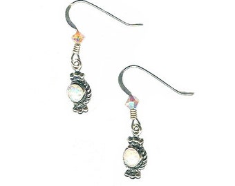 White lab opal tiny sterling silver charm earrings delicate dainty lightweight