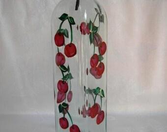 Oil bottle,Oil decanter,oil bottle with cherries,oil and vinegar container,glass bottle,olive oil dispenser,kitchen decor