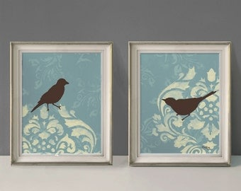 Shabby Bird Prints, French Country Wall Decor, Large Print Set, 11 x 14 inches Each