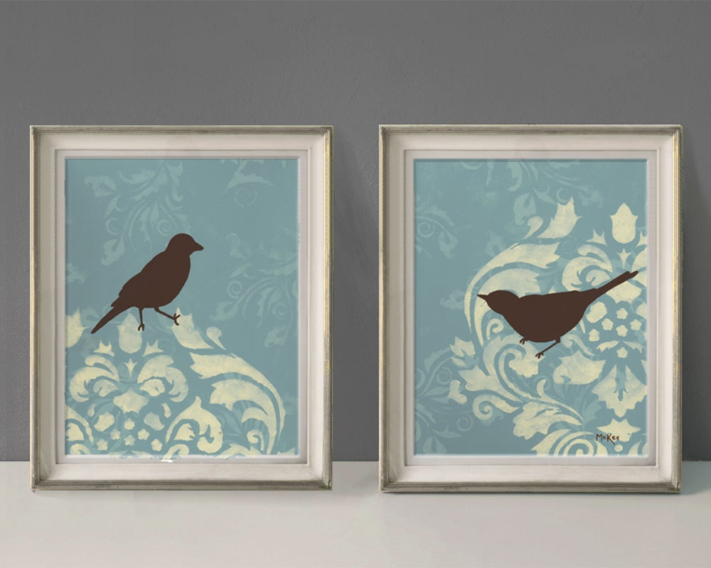 Shabby Bird Prints French Country Wall Decor Large Print
