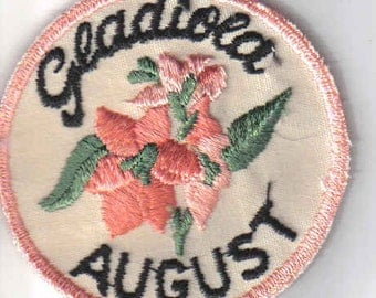 Gladiola August Month Vintage 1970's Sewing Patch Applique Rare Collectible