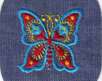 Colorful Large Red Yellow Blue Butterfly Vintage Retro Sewing Patch Applique Collectible