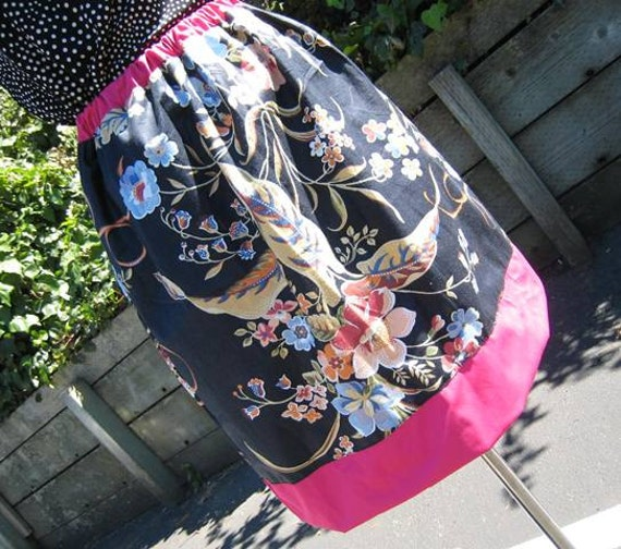 Mixed floral print with fuchsia bright trim skirt in cotton fabric and plus made in USA