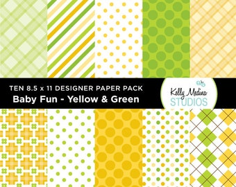 005C Baby Fun Yellow and Green - Designer Paper Pack - Digital Elements for Cards, Stationery, Backgrounds, Paper Crafts and Products