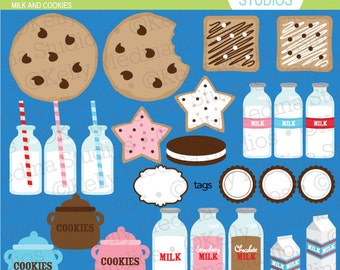 Milk and Cookies - Clip Art Set Digital Elements for Cards, Stationery and Paper Crafts and Products