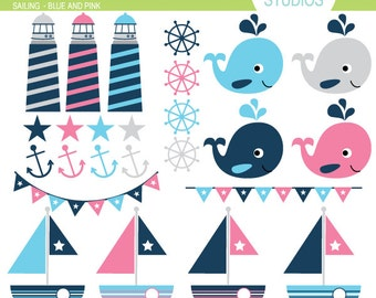 Sailing - Navy Blue and Pink - Clip Art Set - Digital Elements Commercial use for Cards, Stationery and Paper Crafts and Products