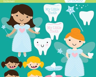 Tooth Fairy - Pink and Blue - Clip Art Set - Digital Elements Commercial use for Cards, Stationery and Paper Crafts and Products