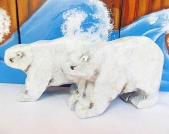 Wooden Noah's Ark Animals Polar Bear Pair