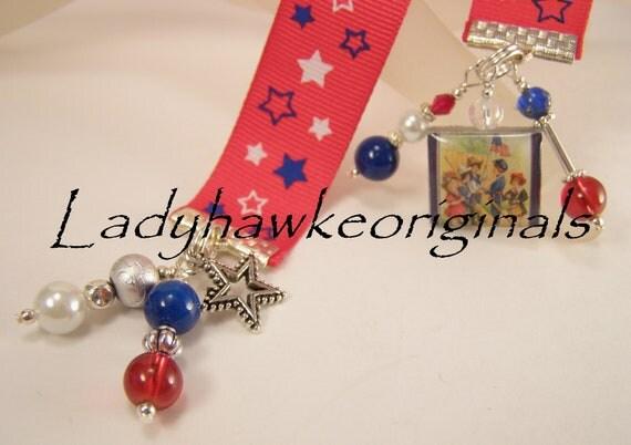 Vintage Americana Scrabble Tile Bookmark Ribbon Charm Beaded Stars Children Altered Art OOAK OKetsy HMA