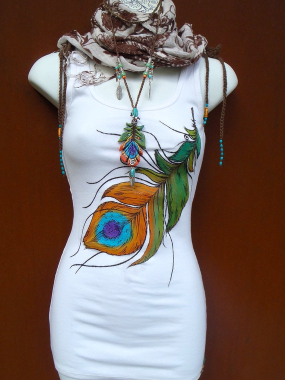 Tank white peacock feather top tank top hand painted clothes for Paint on clothes